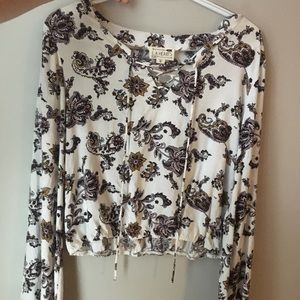 flowy floral bell bottom sleeves blouse